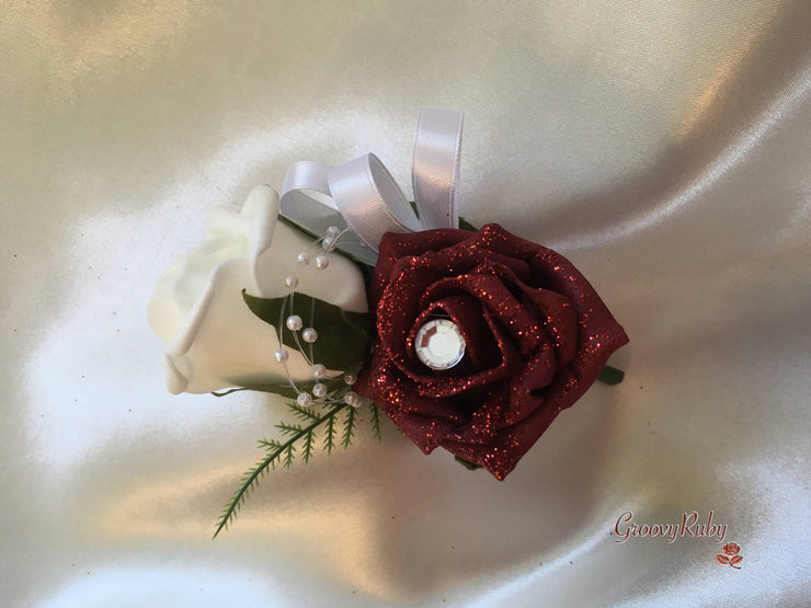 Burgundy Glitter Rose With Pearl Loops & Pearl Diamante Brooch