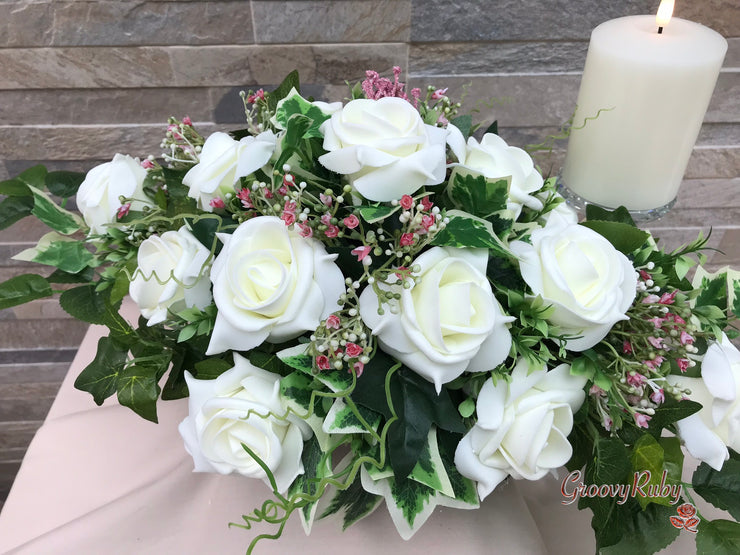 Large Ivory Foam Roses With Shades of Pink Gypsophila