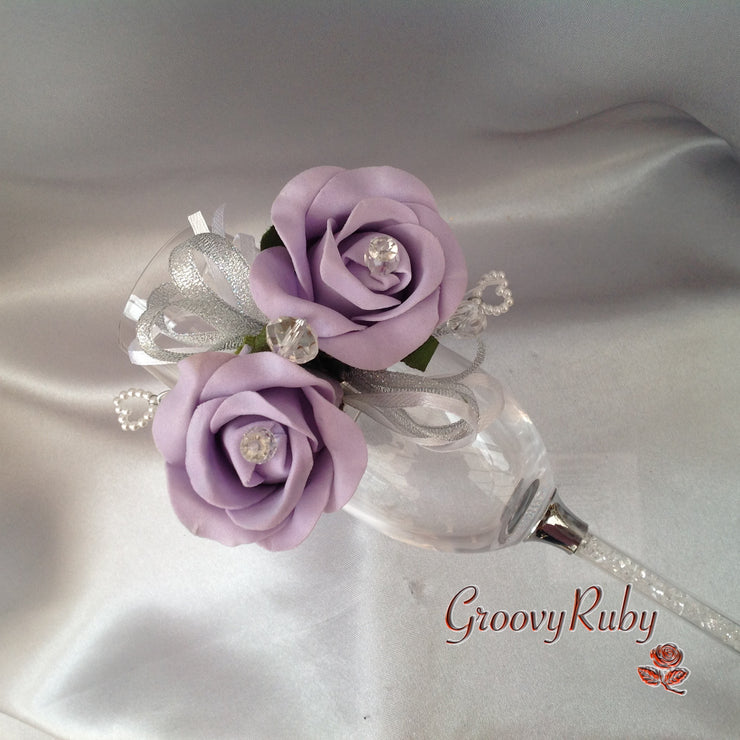 Diamante Wrist Corsage With Light Lilac Roses