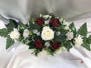 Burgundy & Silver Roses With Delicate Heart Brooch