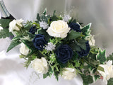 Navy & Ivory Rose With Silver & Crystal Butterfly