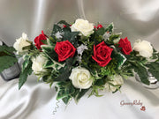Long Table Arrangement With Red & Ivory Roses & Babies Breath