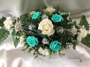 Long Table Arrangement With Tiffany Blue, Silver & Ivory Roses & Babies Breath