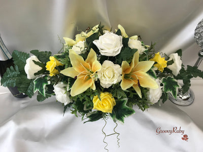 Yellow Tiger Lily Long Table Arrangement