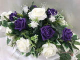 Long Table Arrangement With Cadbury Purple & Ivory Roses & Babies Breath