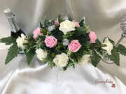 Long Table Arrangement With Baby Pink & Ivory Roses & Babies Breath