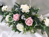 Long Table Arrangement With Dusky Pink, Silver & Ivory Roses & Babies Breath