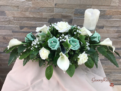 Mint Green Roses & Ivory Carnations With Calla Lily & Gypsophila Long Table Arrangement