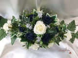 Long Table Arrangement With Navy & Ivory Roses & Babies Breath