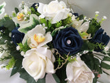 Ivory Orchids With Navy Roses, Foliage & Pearl Loops Long Table Centrepiece