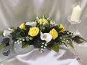 Lemon Pink Rose, Large Calla Lily & Lily of the Valley Table Centrepiece