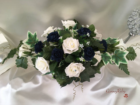 Navy Carnations & Rose Long Table Centrepiece
