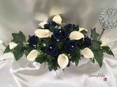 Navy Rose & Calla Lily Table Centrepiece