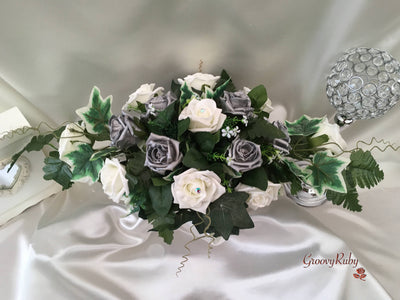 Pearlised Silver & Ivory Roses Long Table Centrepiece
