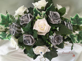 Pearlised Silver & Ivory Roses With Pearl & Diamante Butterfly Brooch & Pearl Loops