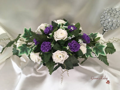 Purple Carnations & Rose Long Table Centrepiece