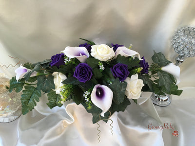 White Purple Centred Calla Lilies & White & Purple Rose Long Table Centrepiece