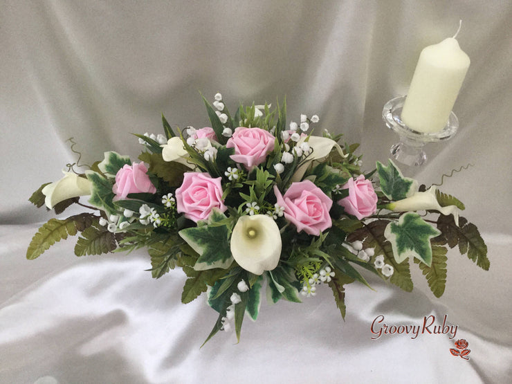 Baby Pink Rose, Large Calla Lily & Lily of the Valley Table Centrepiece