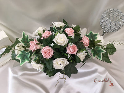 Pearlised Rose Gold & Ivory Roses Long Table Centrepiece