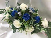 Long Table Arrangement With Royal Blue & Ivory Roses & Babies Breath