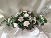 Silver Carnations & Rose Long Table Centrepiece