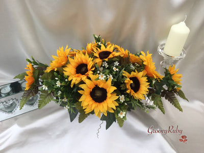 Sunflowers With Daisy Sprays Long Table Centepiece