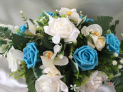 Ivory Orchids With Turquoise Roses & Foliage Long Table Centrepiece