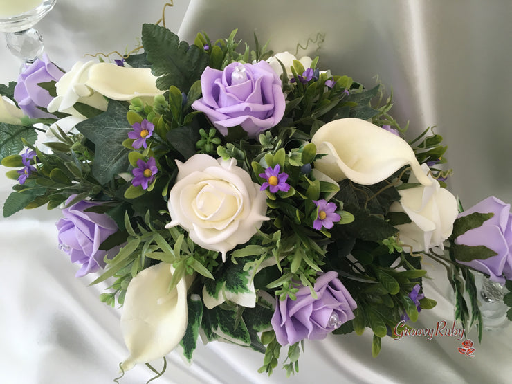 Lilac Daises With Large Calla Lilies & Roses Table Centrepiece