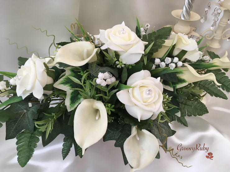 Ivory Rose & Large Calla Lily With Lily of the Valley Table Centrepiece