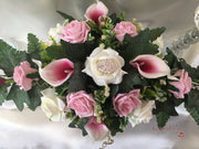 White Pink Centred Calla Lilies & Roses With Brooch Long Table Centrepiece