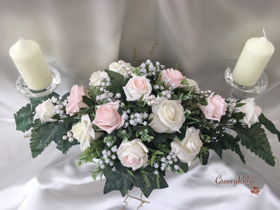 Blush Pink & Ivory Roses With Gypsophila & Pearl Loops & Sprays Long Table Centrepiece