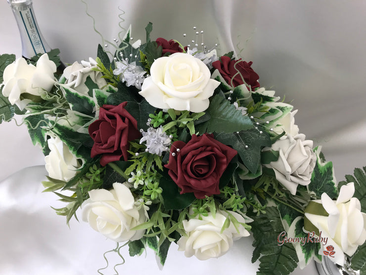 Long Table Arrangement With Burgundy, Silver & Ivory Roses & Babies Breath