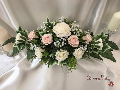 Long Table Arrangement With Mocha Pink & Ivory Roses & Gypsophila & Crystal Sprays
