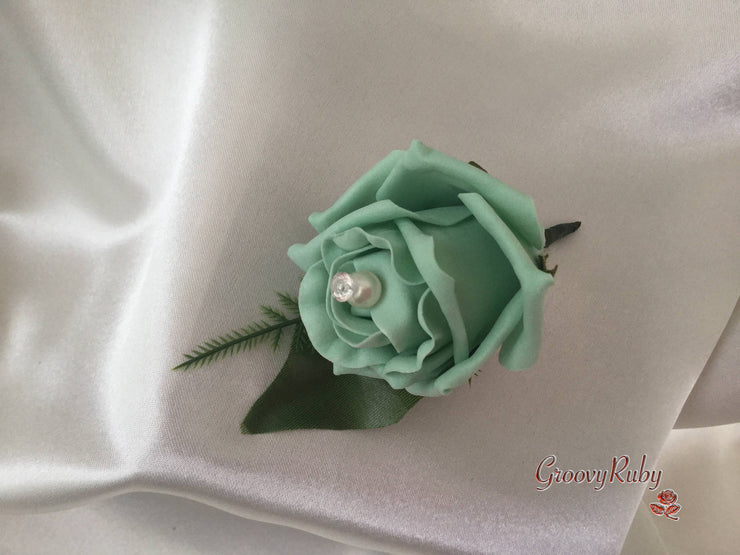Single Pearl Rose Buttonhole - Colour of your Choice
