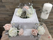 Large Cake Spray Mocha Pink & Silver With Glitter Butterfly