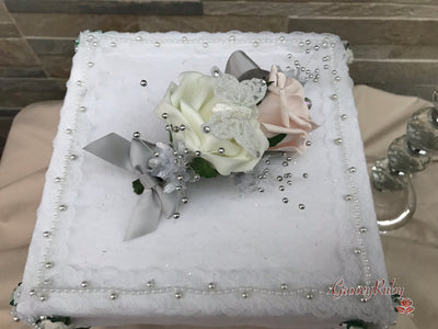 Small Cake Spray Mocha Pink & Silver With Glitter Butterfly