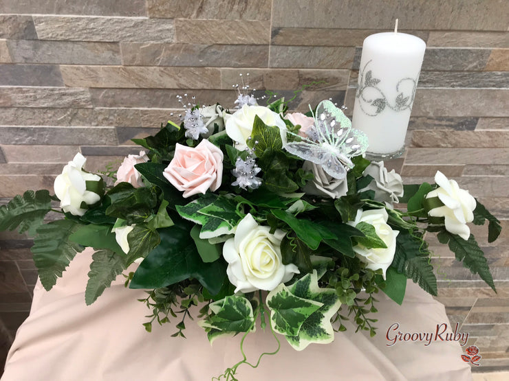 Long Table Arrangement With Mocha Pink & Silver Roses With Large Iridescent Diamanté Butterfly