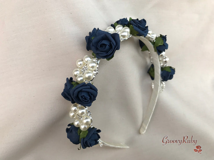 Navy & Ivory Roses With Ornate Large Pearl Brooch