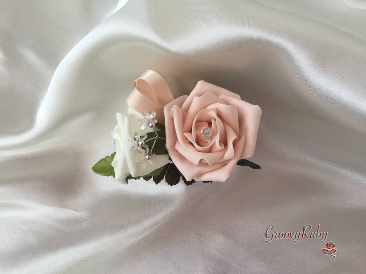 Ladies Pin On Corsage With Crystal Spray & Ribbon - Colour Combination Of Your Choice