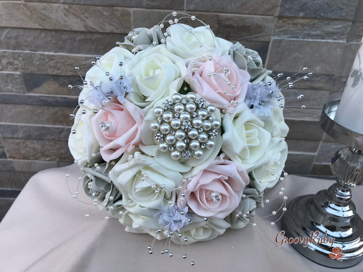 Pearl & Diamanté With Pretty Blush & Cool Silver Roses