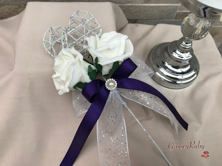Purple With Pearl Sprays & Ornate Brooch