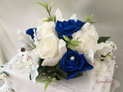 Small Tiger Lilies & Royal Blue Roses With Foliage Cake Topper