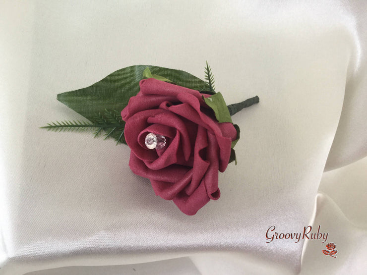 Single Crystal Rose Buttonhole - Colour of your Choice