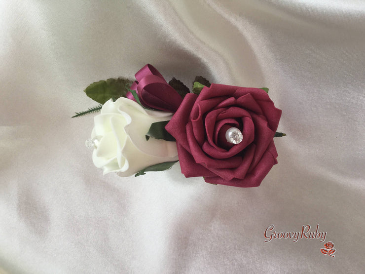 Double Rose Pearl Buttonhole - Colour Combination of your Choice