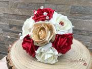 Red & Pealised Gold With Large Flower Brooch