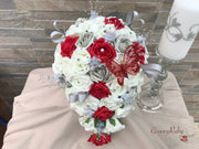 Red & Silver Roses With Large Red Diamanté Butterfly