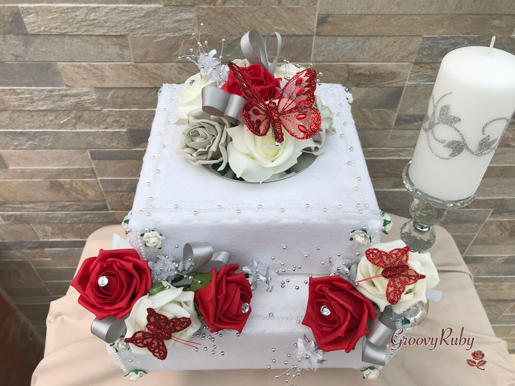 Large Cake Spray Red & Silver With Glitter Butterfly