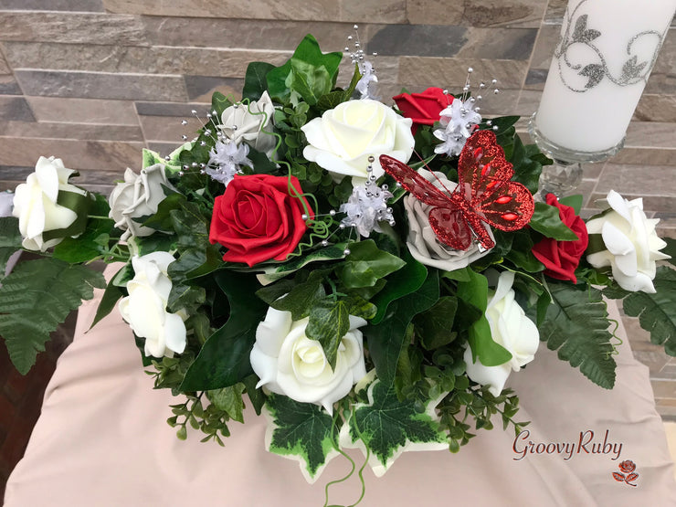 Long Table Arrangement With Red & Silver Roses With Large Red Iridescent Diamanté Butterfly