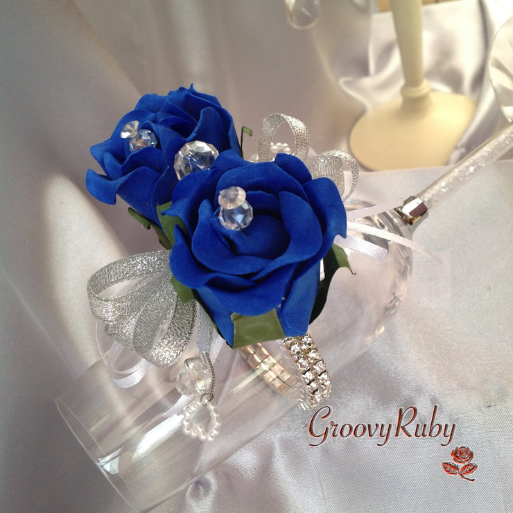 Diamante Wrist Corsage With Royal Blue Roses