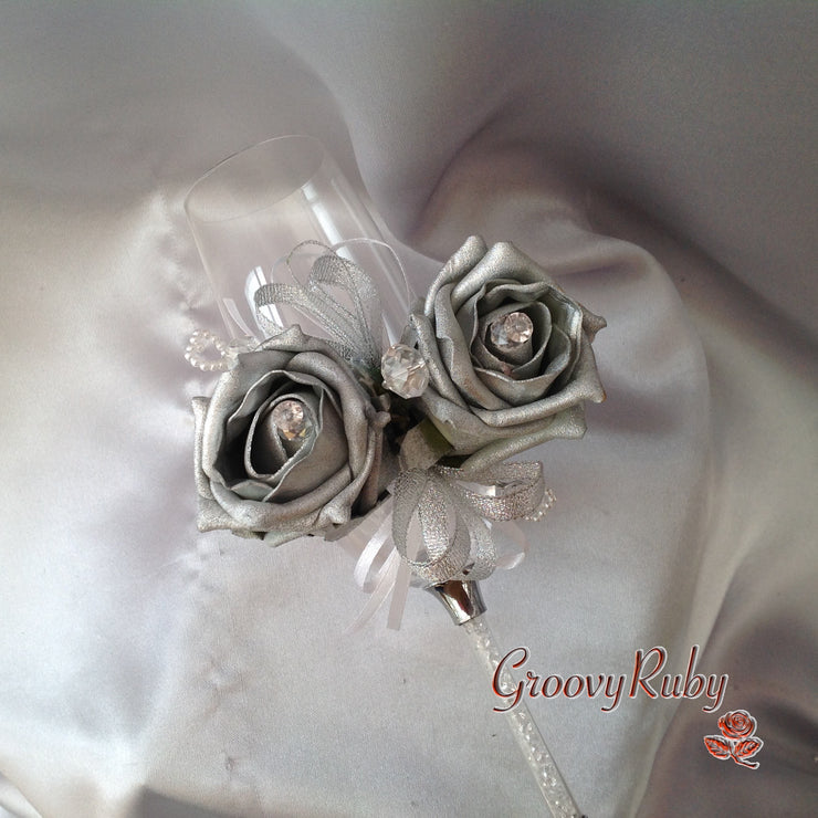 Diamante Wrist Corsage With Silver Roses